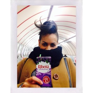 Back to London for a few days! Found this girl drinking some Ribena getting on the tube. #ohsoenglish